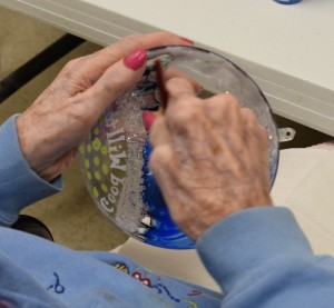 100-yr. old hands, working on the 2016 ornament.